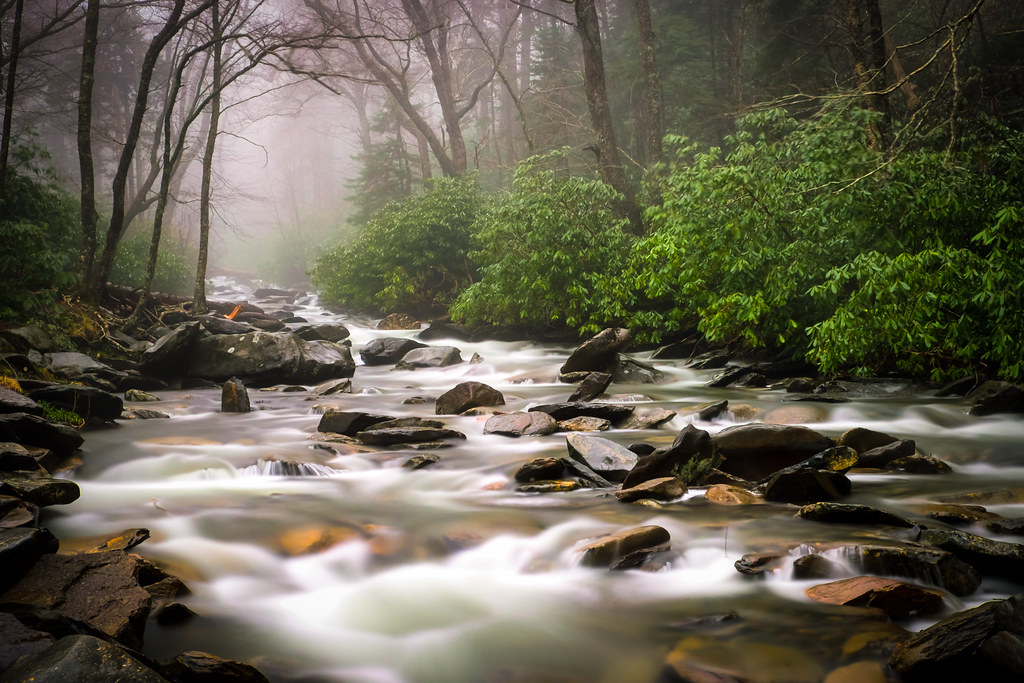 Smoky Mountain River Long Exposure Image Taken In The