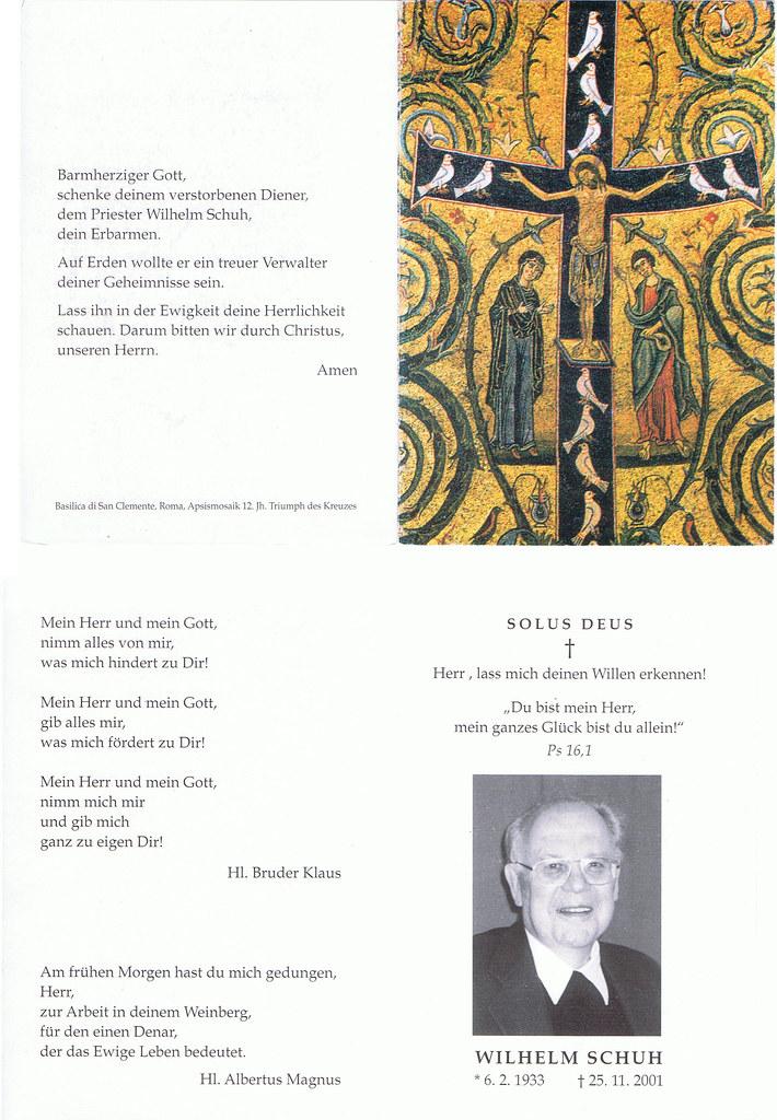 Totenzettel Schuh, Wilhelm † 25.11.2001