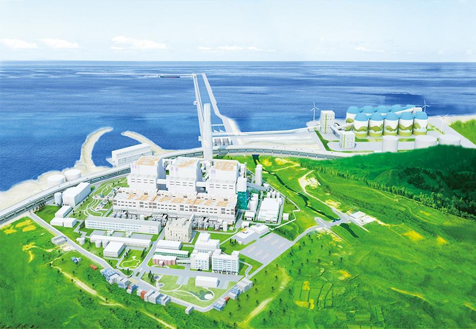 林口電廠擴建完成模擬圖。圖片來源:台電月刊。