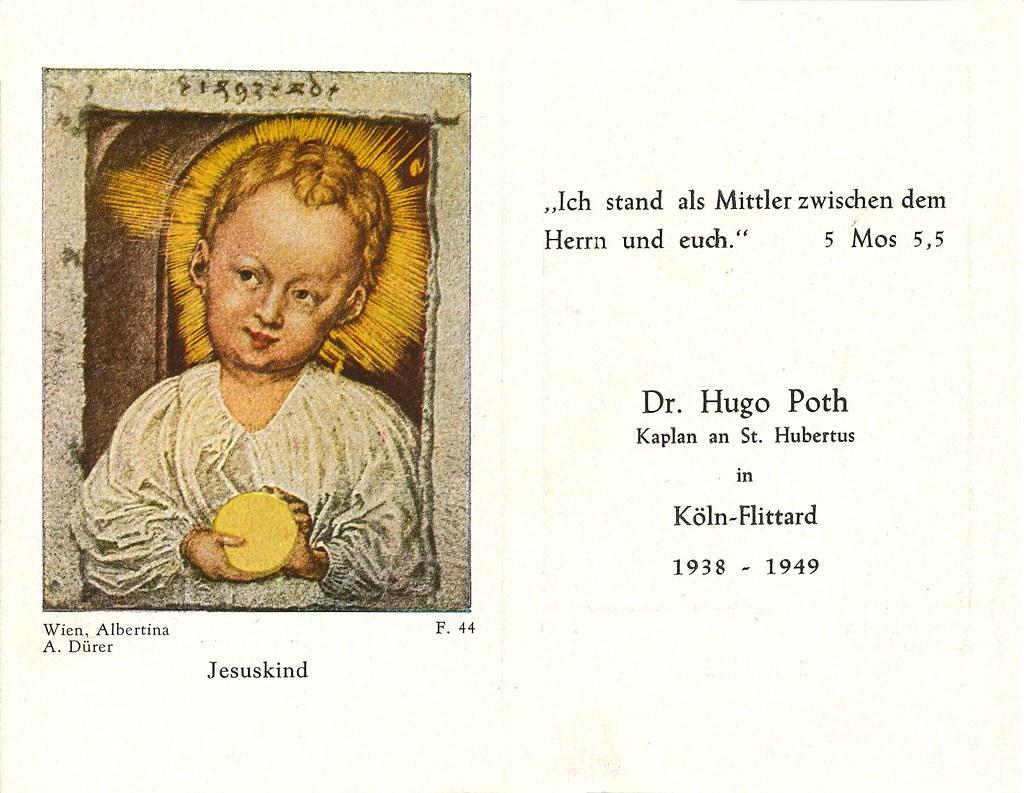Andenken an Kaplan Dr Hugo Poth 1905-1988