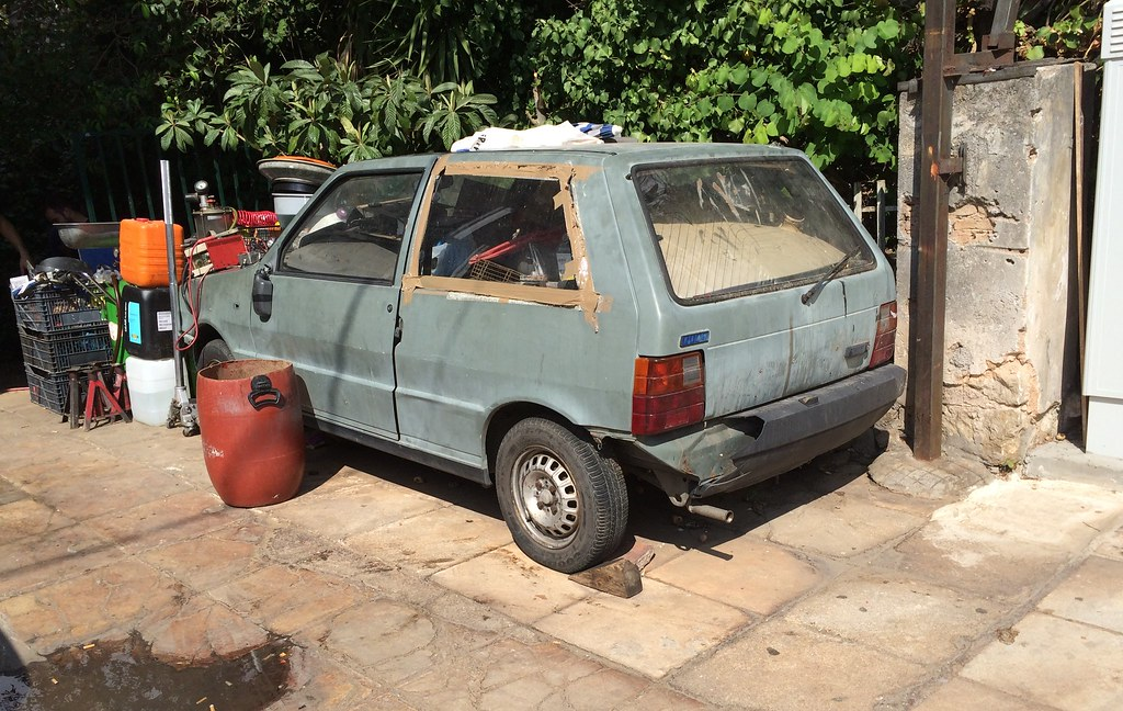 Abandoned Fiat Uno This Uno Seems To Be Serving As A