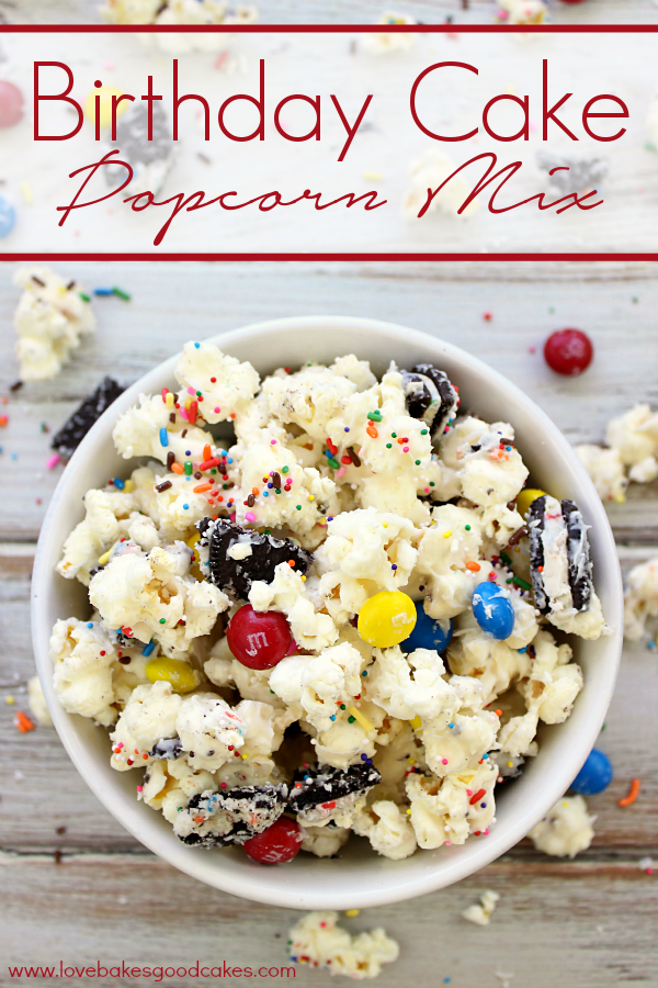 Birthday Cake Popcorn Mix in a bowl.