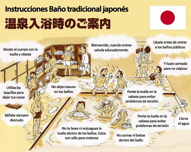Instrucciones para bañarse en un onsen japonés