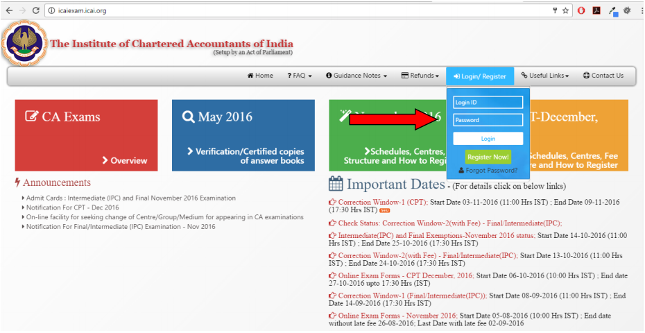 ICAI CA CPT Admit Card May 2018 icaiexam.icai.org [Released]   Download Here