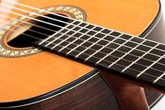 Closeup image of classical guitar