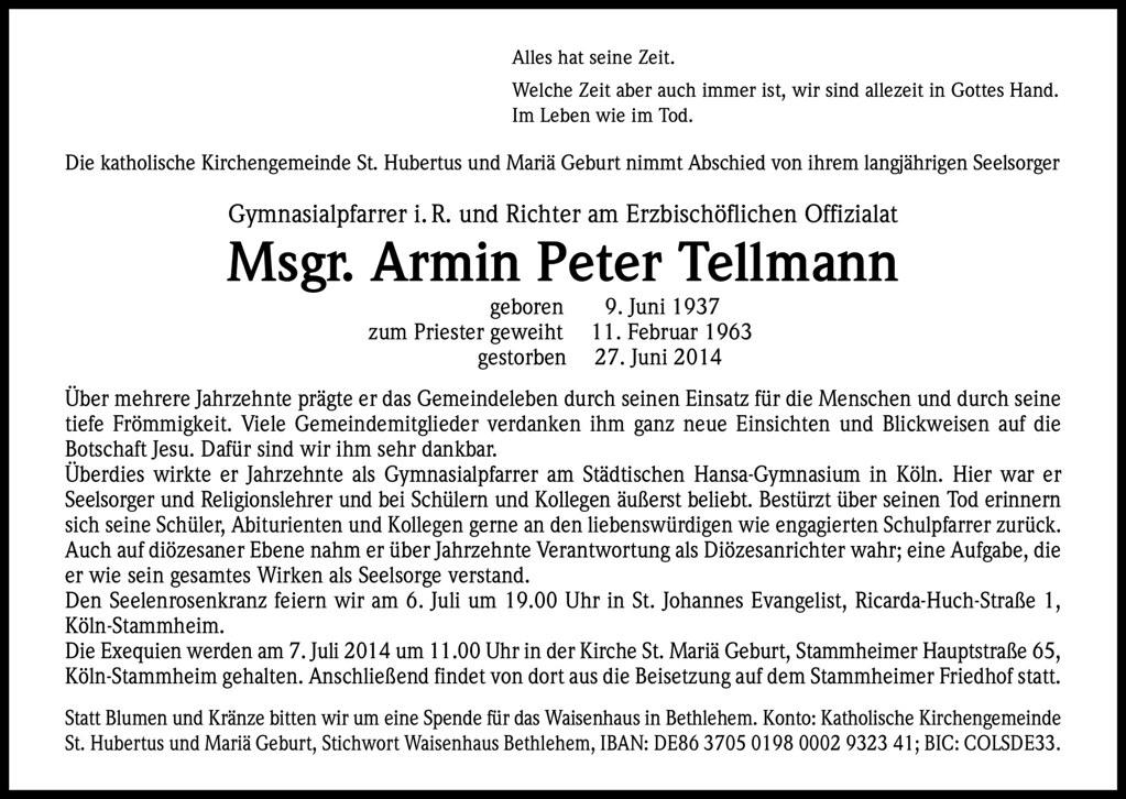 Totenzettel Tellmann, Armin Monsignore † 27.06.2014