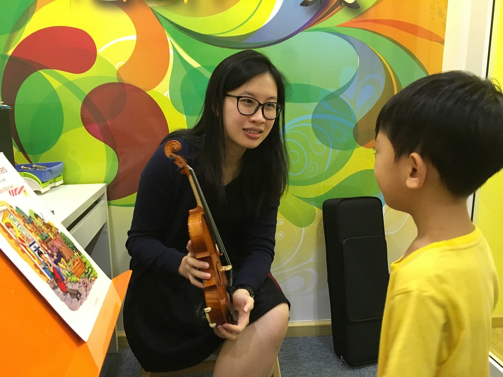 Asher meets Teacher Alice, and his (rental) violin, for the first time.