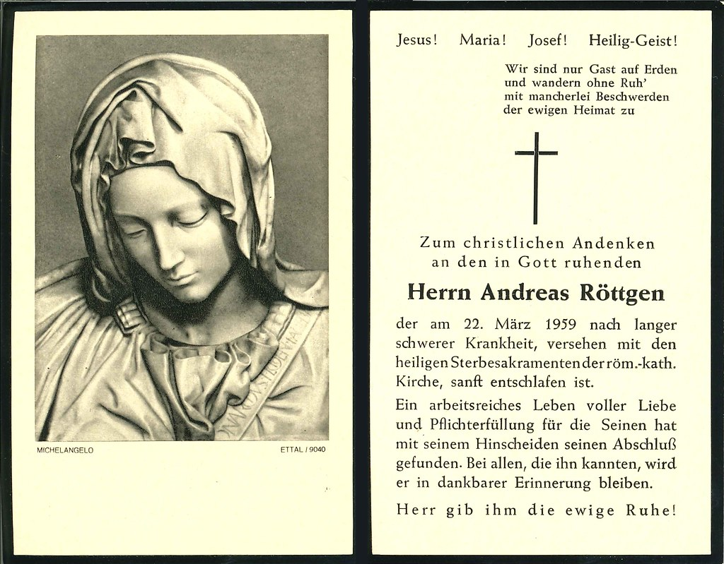 Totenzettel Röttgen, Andreas † 22.03.1959