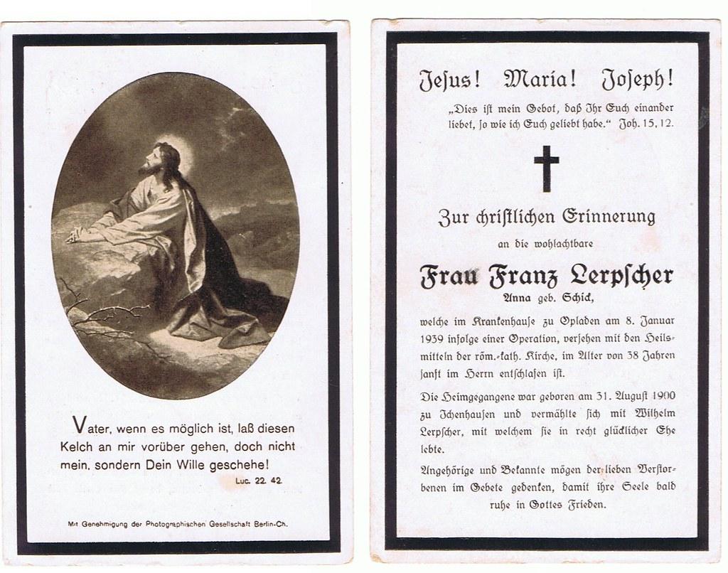 Totenzettel Lerpscher, Anna 08.01.1939
