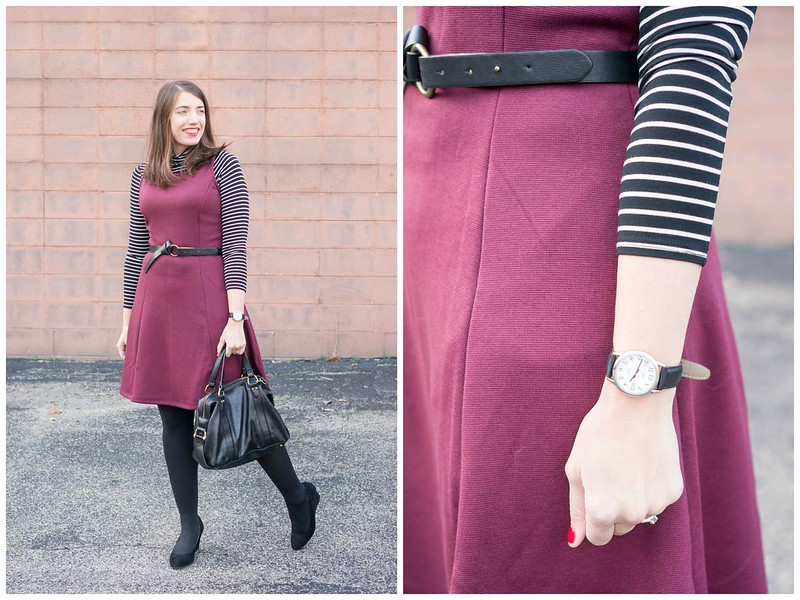 stripe turtleneck + maroon dress + black tights + black wedge heels | Style On Target blog
