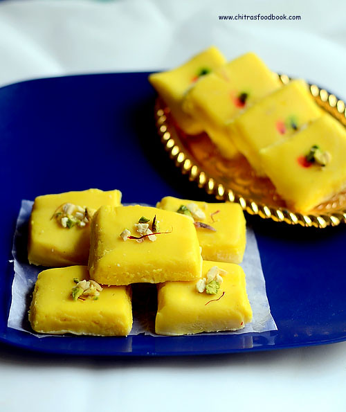 Kesar burfi recipe with milk powder