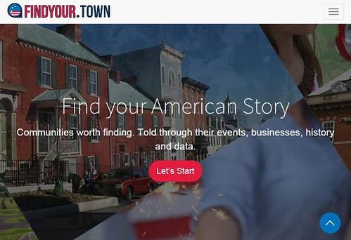 Findyour.town homepage screenshot
