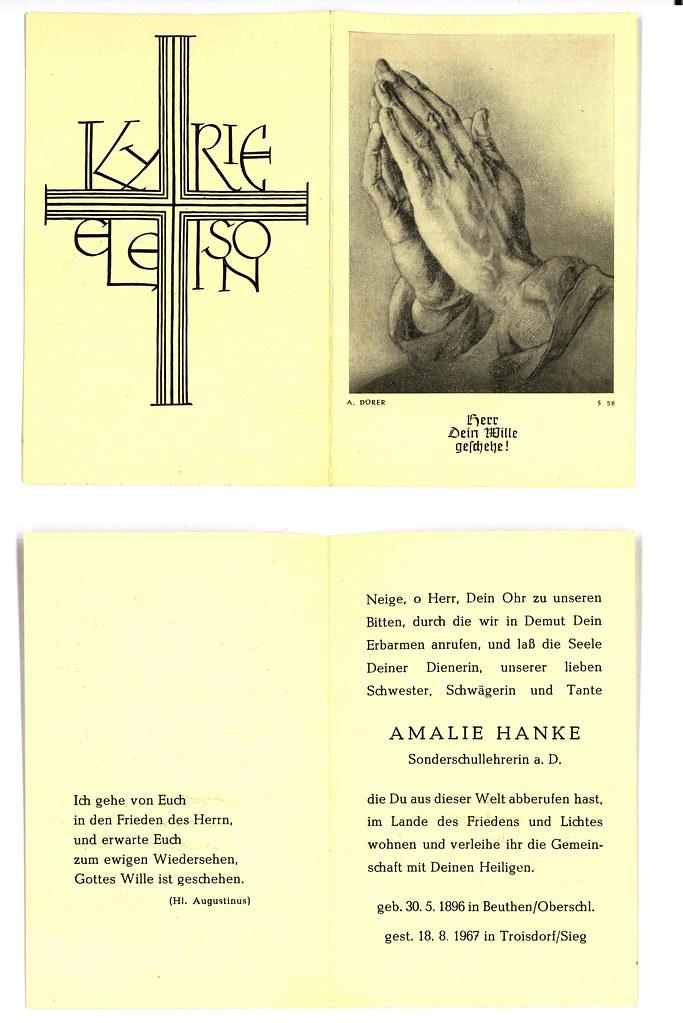 Totenzettel Hanke, Amalie † 18.08.1967