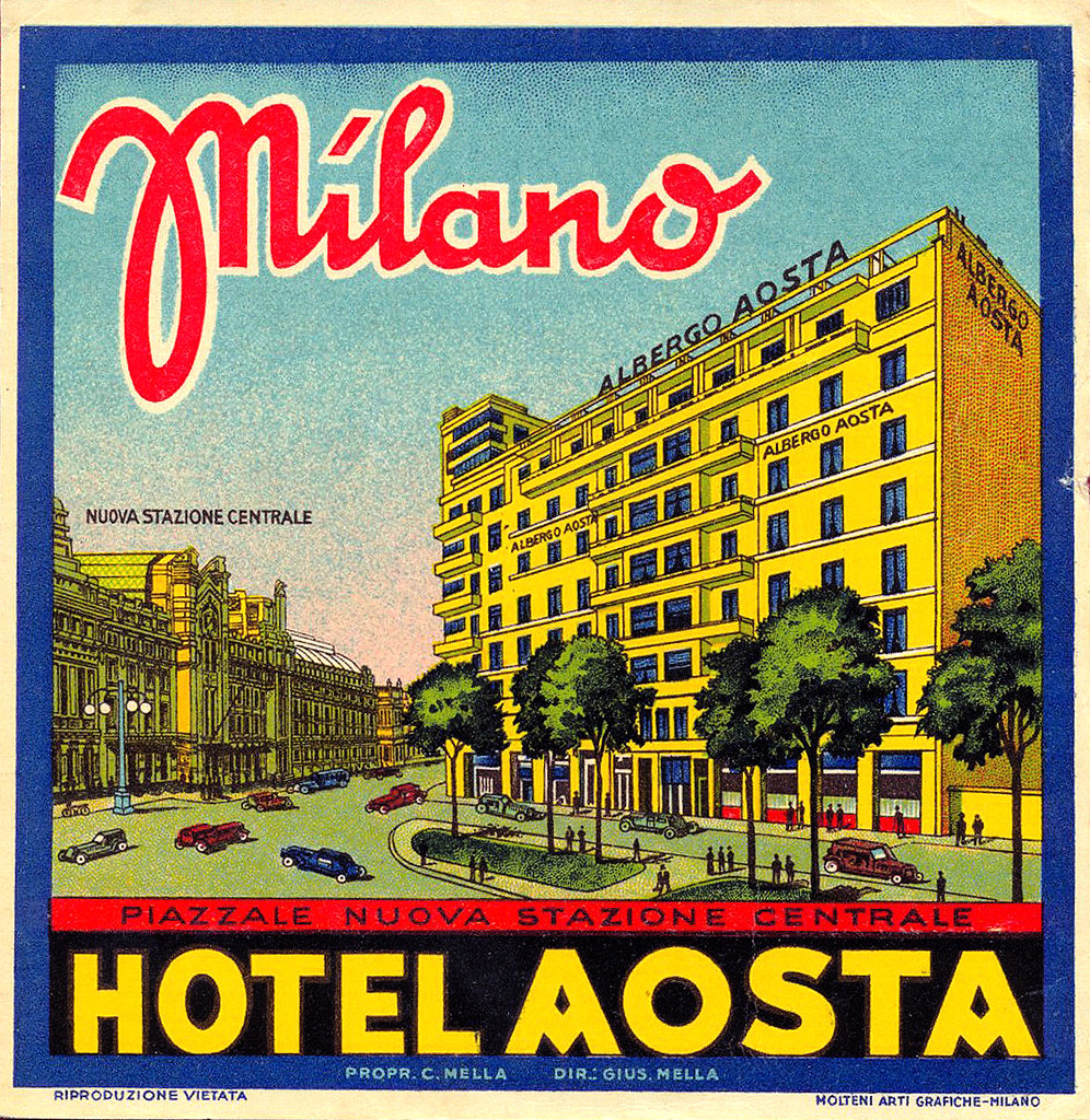 Aosta hotel milano milan italy art of the luggage label for Hotel aosta milano