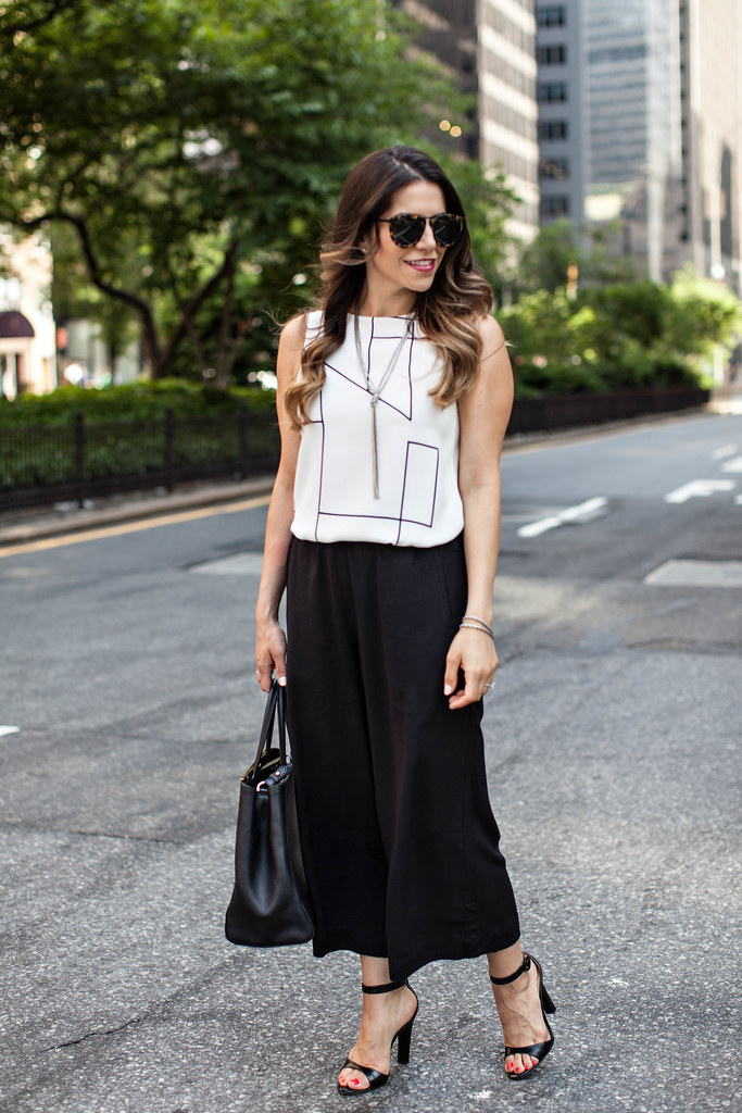 culottes, corporate catwalk, what to wear to work, black and white, fendi sac de jour karen walker open toe shoes new york fashion blogger corporate catwalk work outfits workwear what to wear to work in spring