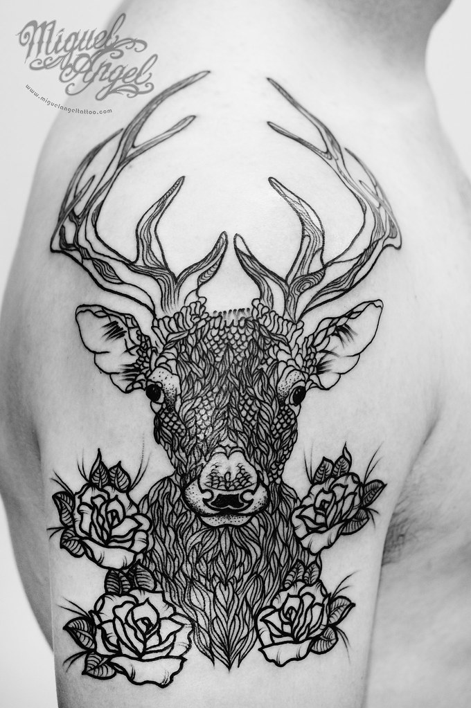 Straight Line Tattoo Artist Uk : Stag and roses in line work tattoo miguel angel custom