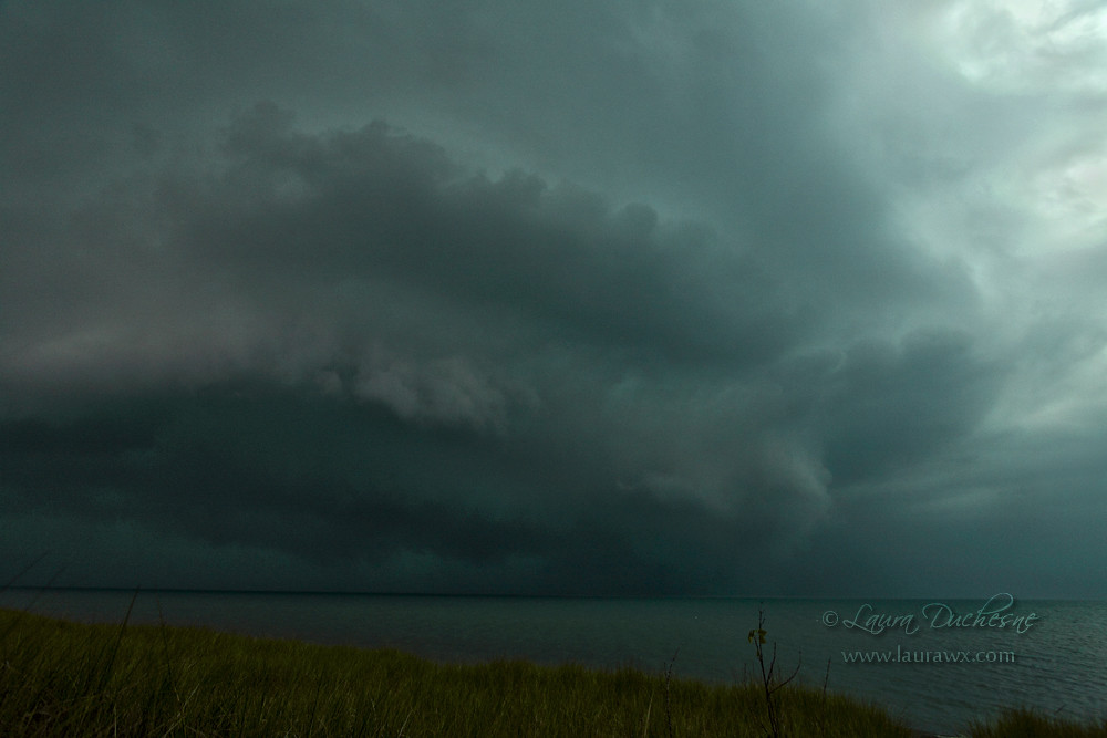 Tornadic supercell moves in towards Pinery Provincial Park on Lake Huron, July 27, 2014. It produced an EF 1 tornado from Pinery to Grand Bend, Ontario.