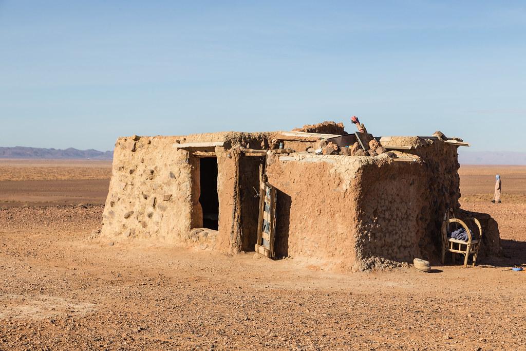 traditional house in the sahara desert near erfoud