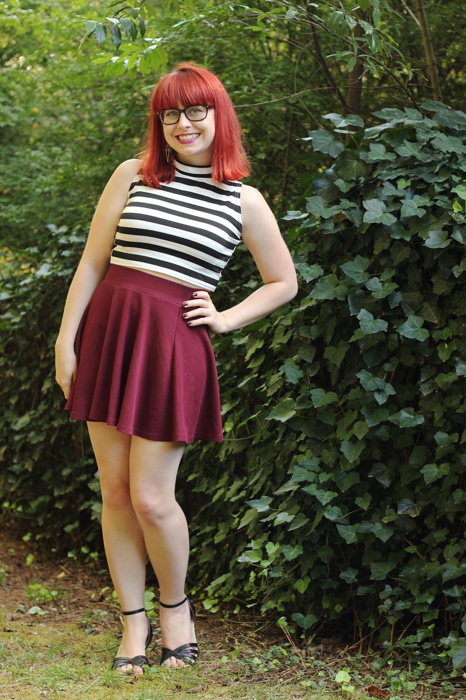 Striped Mock Neck Top Black Glasses Maroon Flippy Skirt