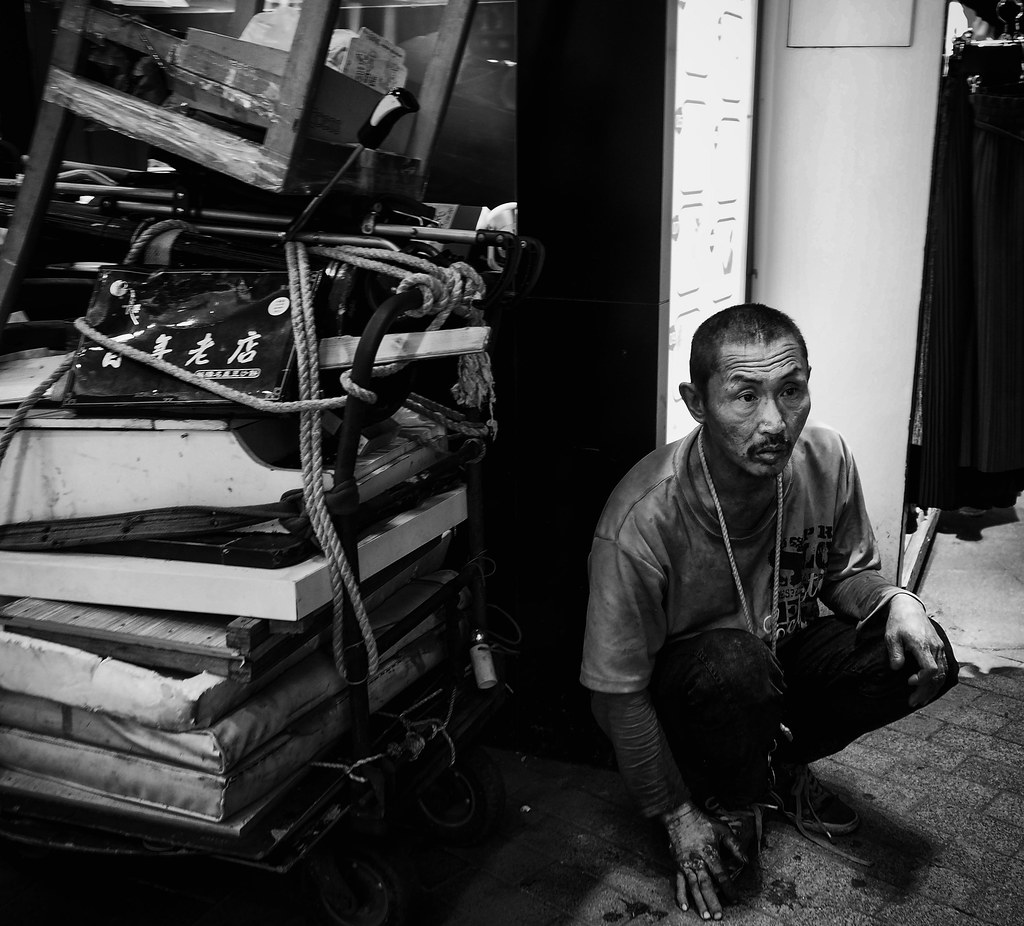 Man with cart in Taipei