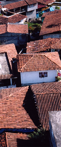 red-tiled roofs on the island of Janitzio in Mexico