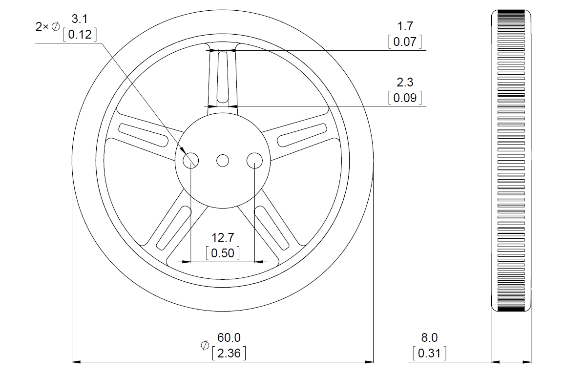 FS90R Servo Wheel Dimensions
