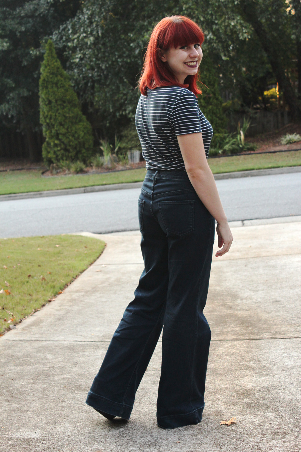 Wide Legged Dark Wash Jeans and Striped Blue T-shirt