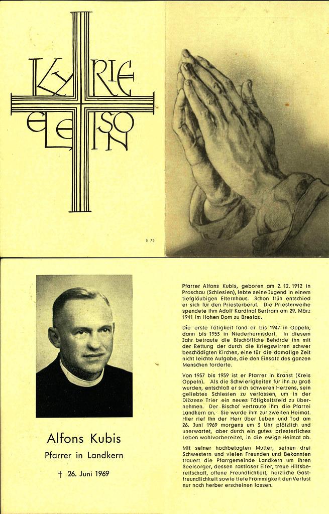 Totenzettel Kubis, Alfons † 26.06.1969