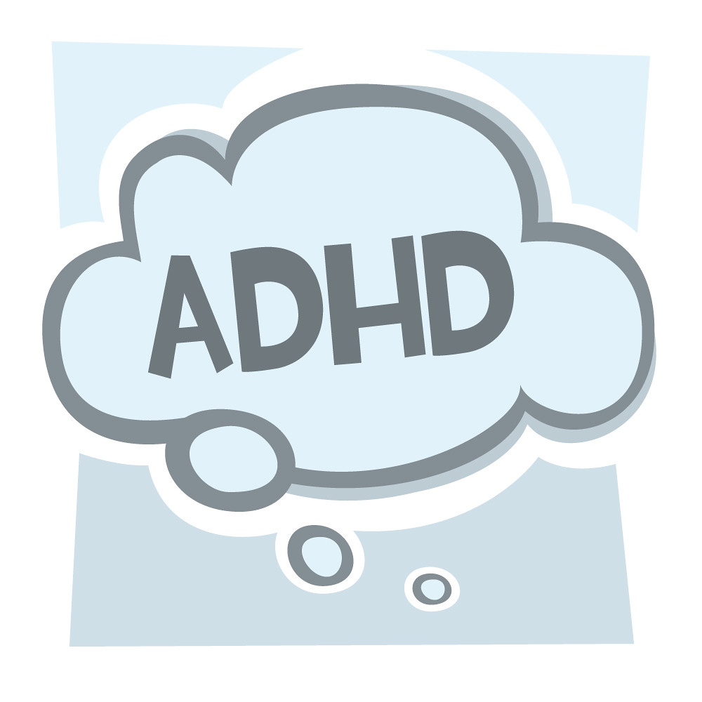 Adhd illustration of adhd in a thought bubble if you are