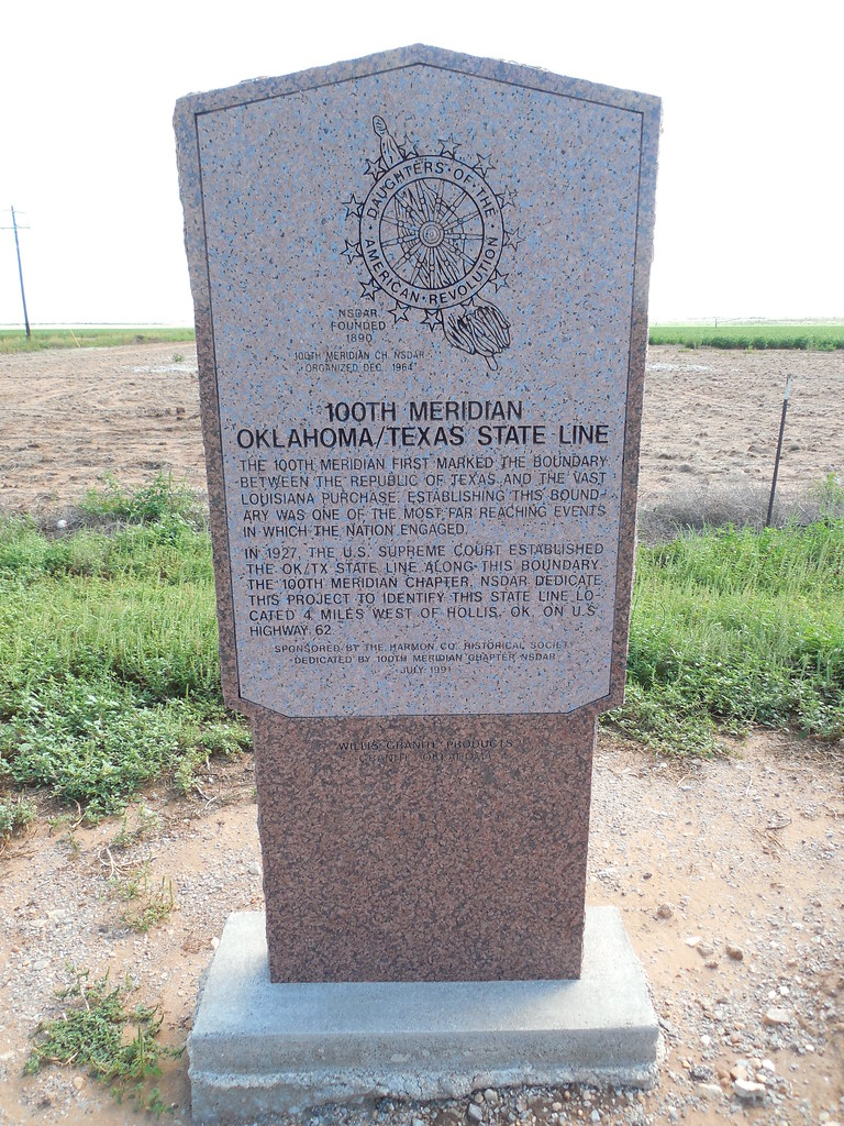 100th Meridian Marker Us Hwy 62 West Of Hollis Ok At