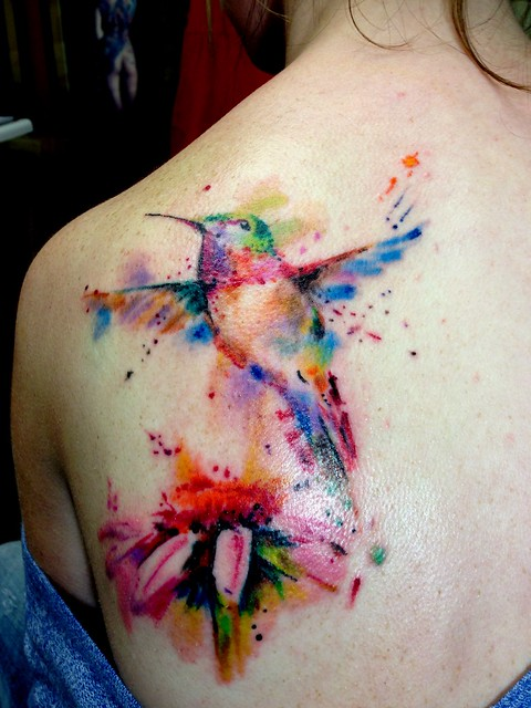 Water color hummingbird tattoo flickr photo sharing for Water paint tattoo