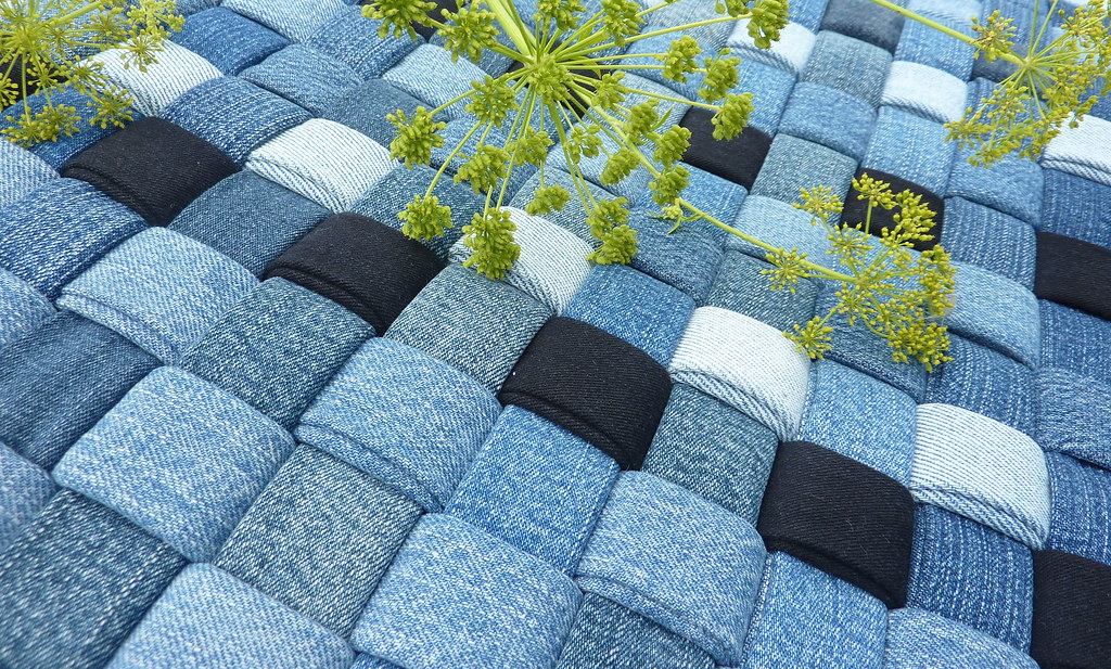 Rustic Woven Denim Rug Detail Handwoven From Recycled