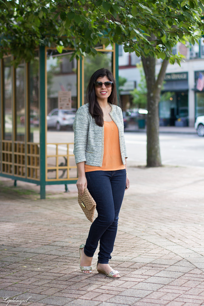 textured jacket, orange tank, denim, straw clutch-1.jpg