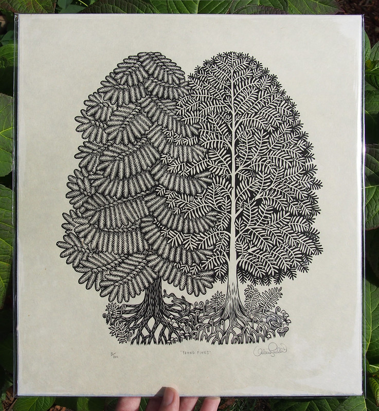 """YOUNG PINES"" WOODCUT"