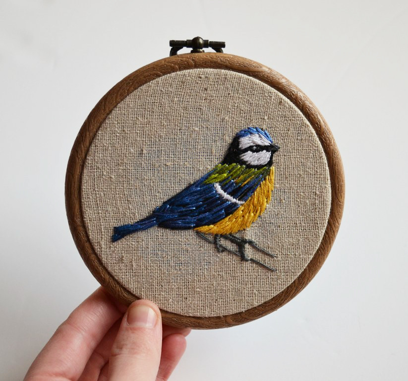 Hand embroidery blue tit hoop art to view more of my