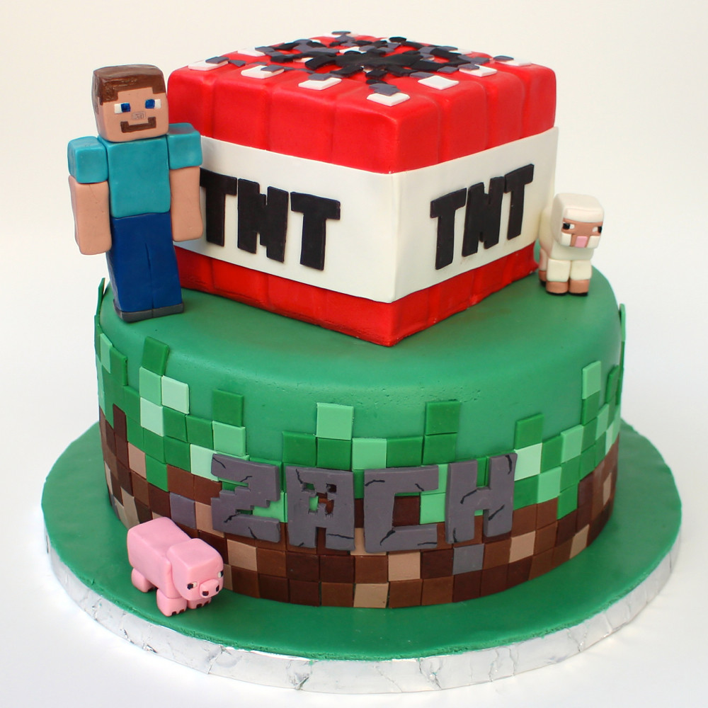Minecraft Images For Cake : Minecraft cake The tiles are modeling chocolate. The ...
