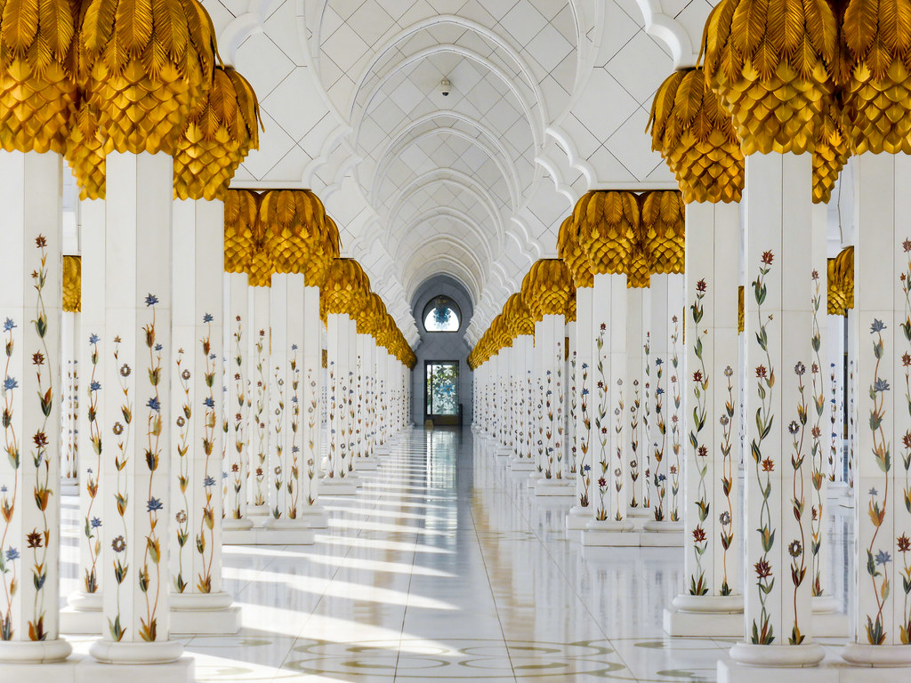 At The Sheikh Zayed Grand Mosque Abu Dhabi Located In