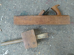 Wooden jack plane and mallet
