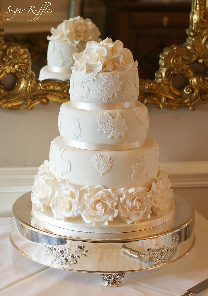 wedding cakes with ruffles and roses ivory lace amp roses wedding cake flickr 26113