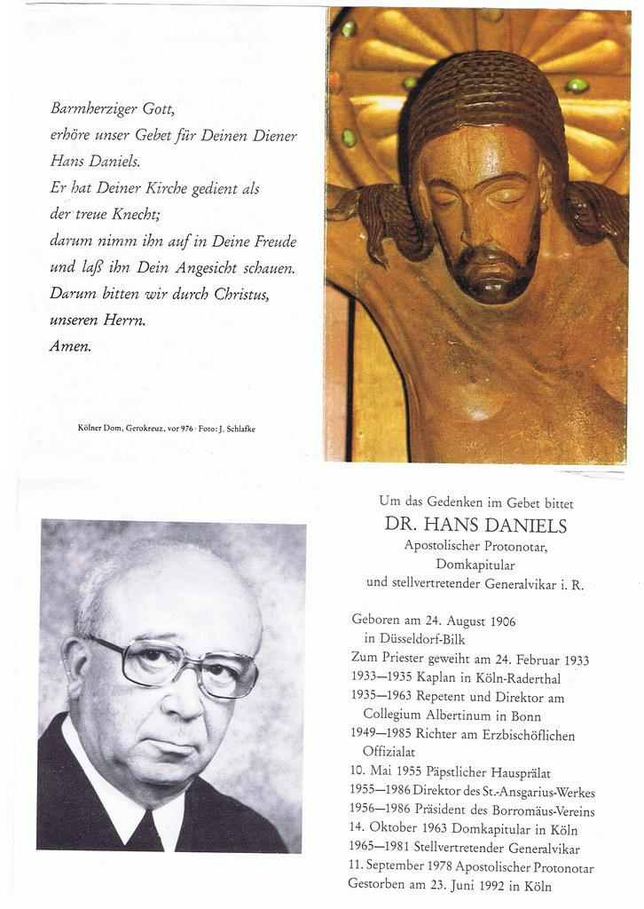 Totenzettel Daniels, Hans † 23.06.1992