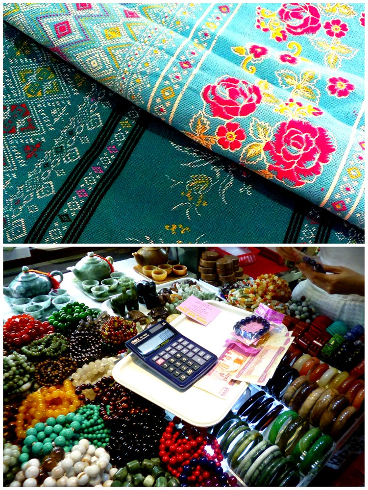 Longyi cloth and semi-precious stones