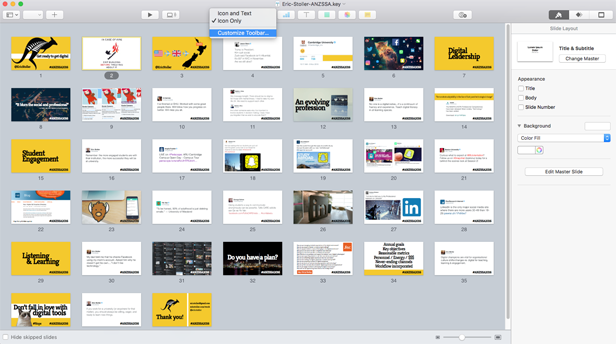 Using Apple Keynote for slide deck design and presentation.