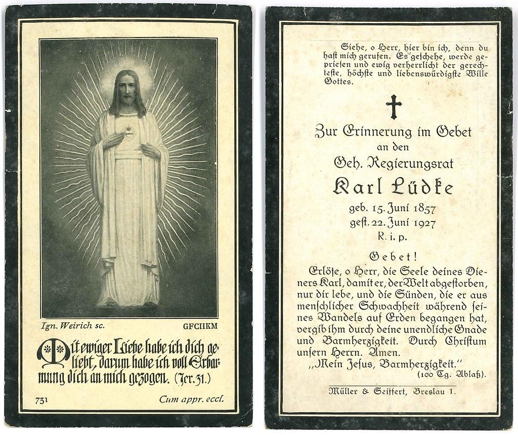 Totenzettel Lüdke, Karl † 22.06.1927