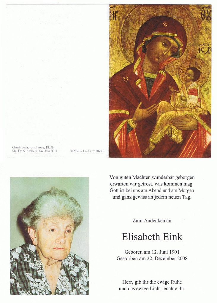 Totenzettel Fink, Elisabeth † 22.12.2008