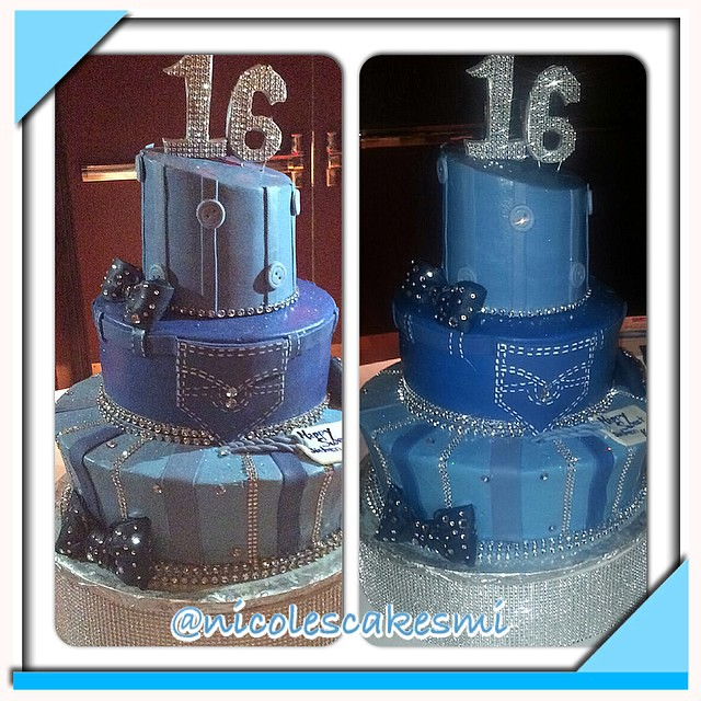 Denim And Diamonds Sweet 16 Cake Buttercream With Fondant