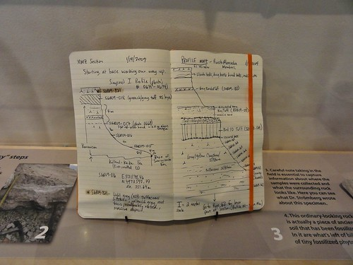 Image shows a field notebook, a sturdy book with cream colored pages and an orange elastic band to hold the pages closed. It's propped open showing sketches of an outcrop with notes about the different rock and soil layers found.