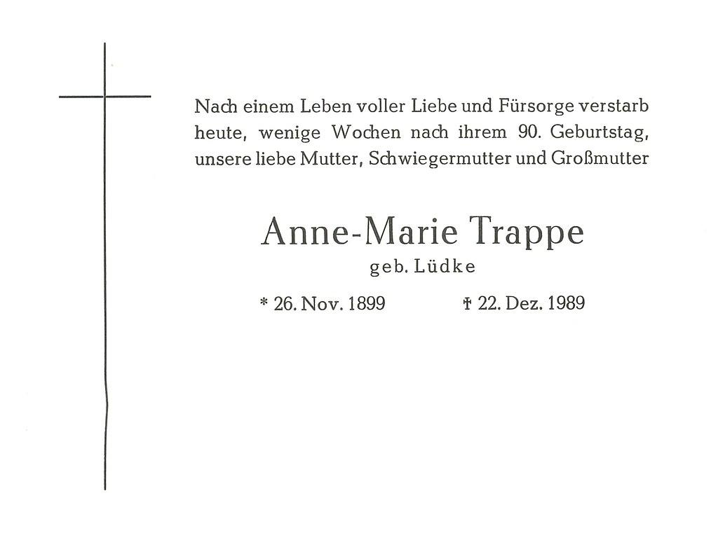 Totenzettel Trappe, Anne Maria † 22.12.1989