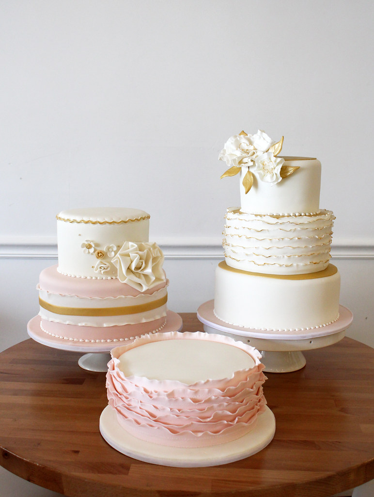 blue pink and gold wedding cake gold and blush pink wedding cakes trio fondant ruffles 11999
