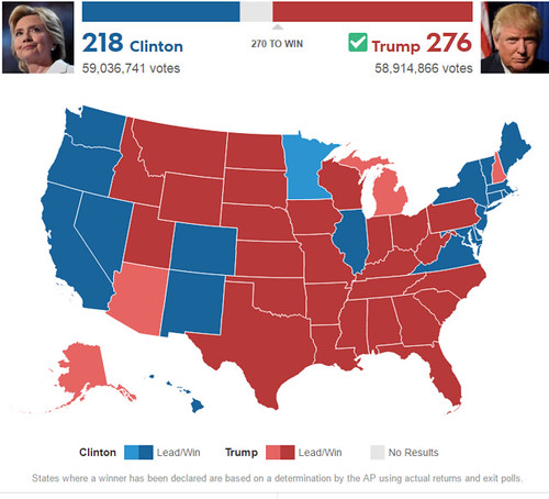 2016 Presidential Election results, by state