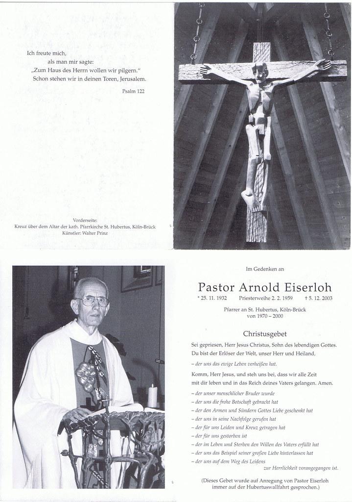 Totenzettel Eiserloh, Arnold † 05.12.2003
